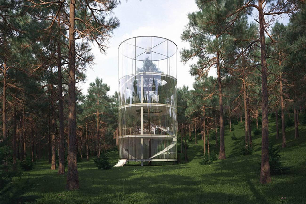 Une cabanne moderne dans les arbres